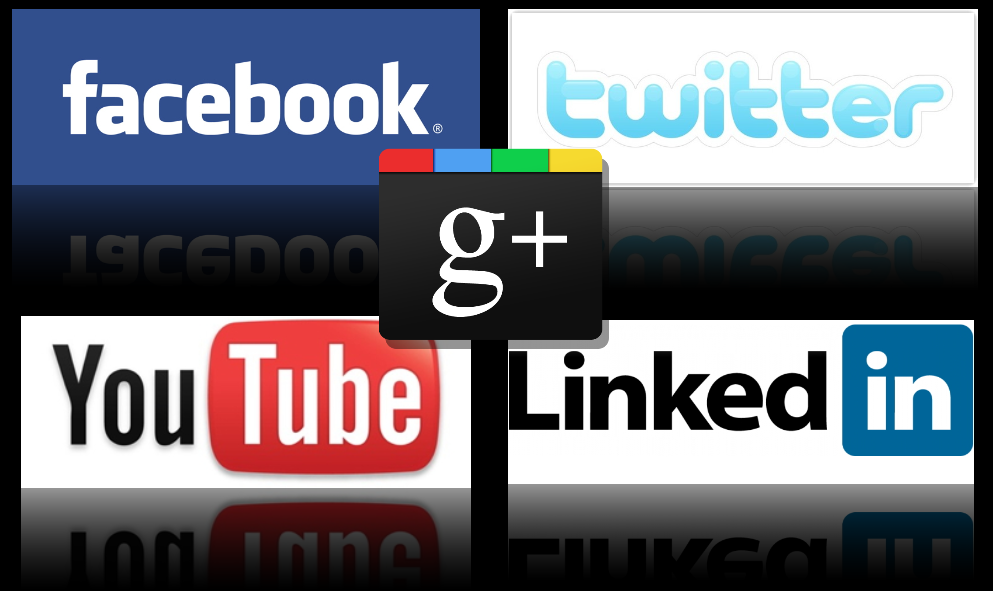 Social Media Collage Featuring Twitter, Facebook, LinkedIn, YouTube and Google+