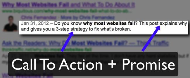 Example of a Call To Action In A META Description