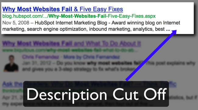 Example of META Description Being Cut Off In Search Results