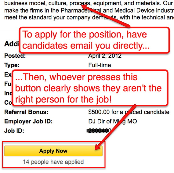 Example Job Post of Having a Potential Employee Contact You Directly