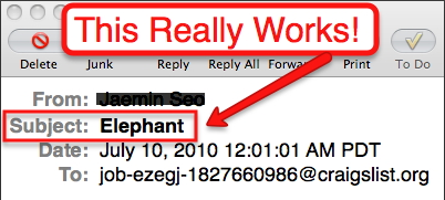 "Image Of The Word ""Elephant"" In The Subject Line of An Email"