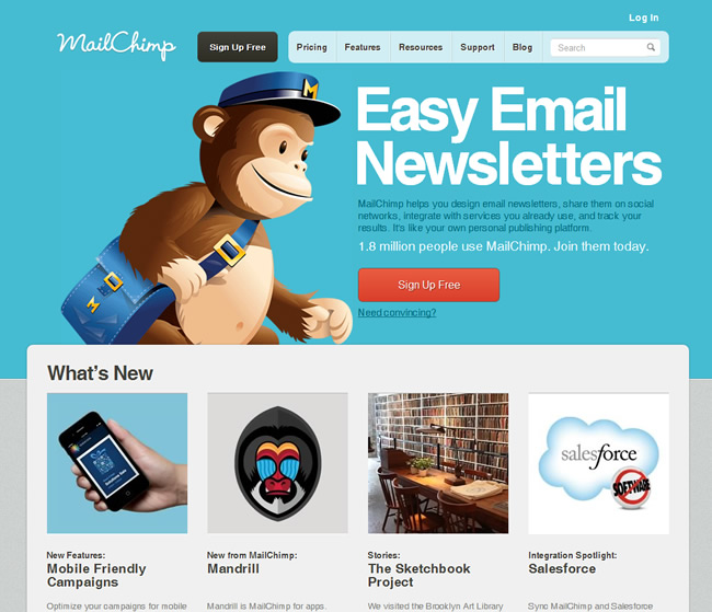 Photo of the MailChimp website