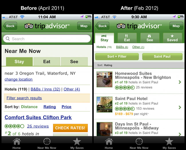 A photo of Trip Advisor's interface before and after they made changes